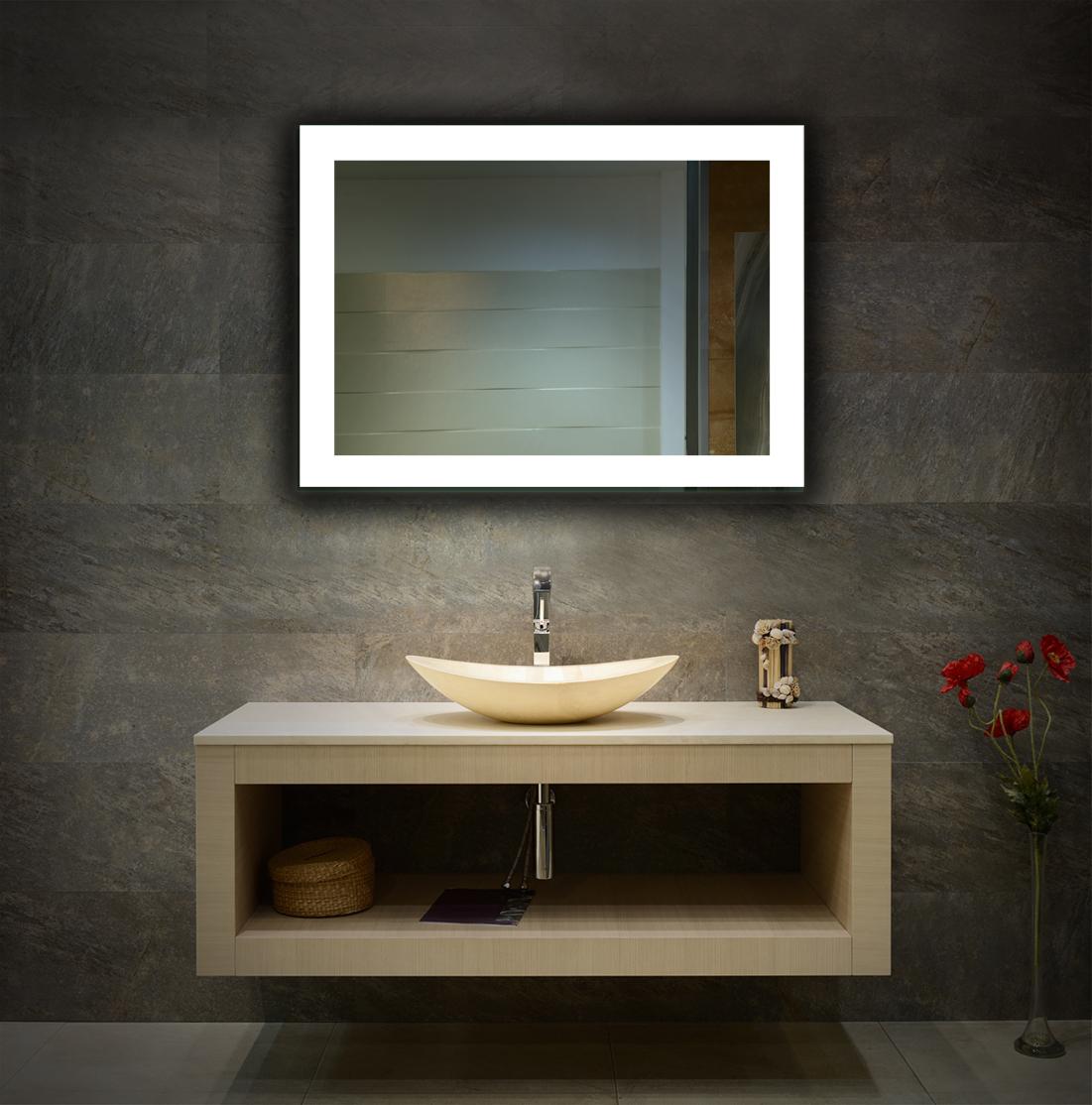 spiegel mit led beleuchtung wandspiegel badezimmerspiegel 3 led farben ebay. Black Bedroom Furniture Sets. Home Design Ideas